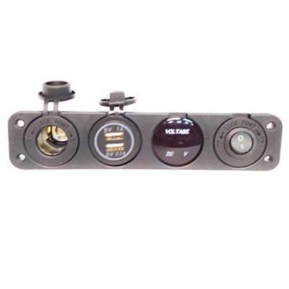 Panel USB+Voltímetro+cargador 12v